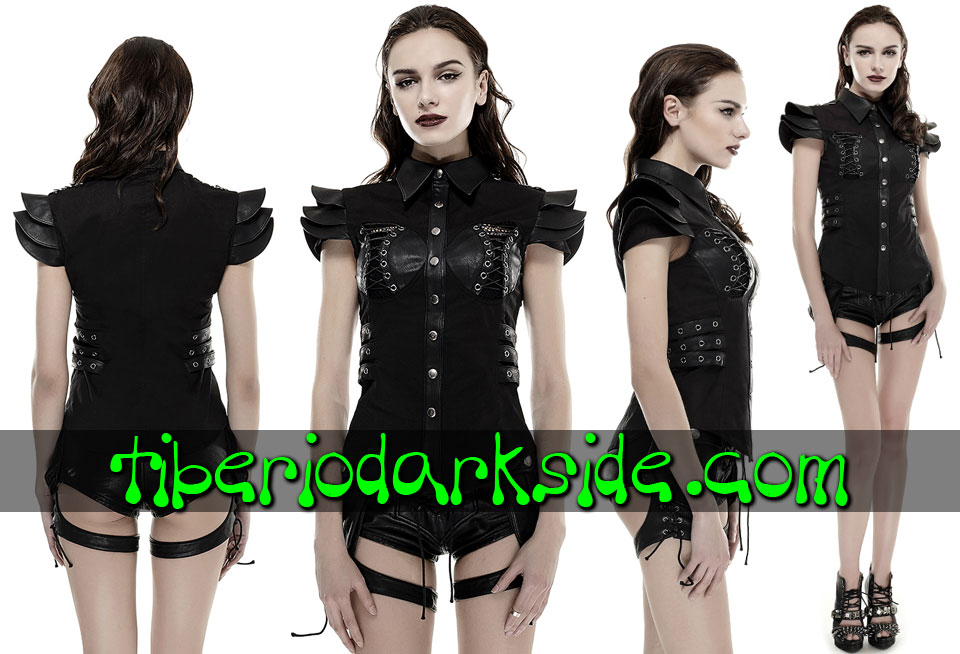 CORPORATE & MILITARY GOTH - Camisas y Tops PUNK RAVE Camisa Militar Uniforme Armadura Hombros