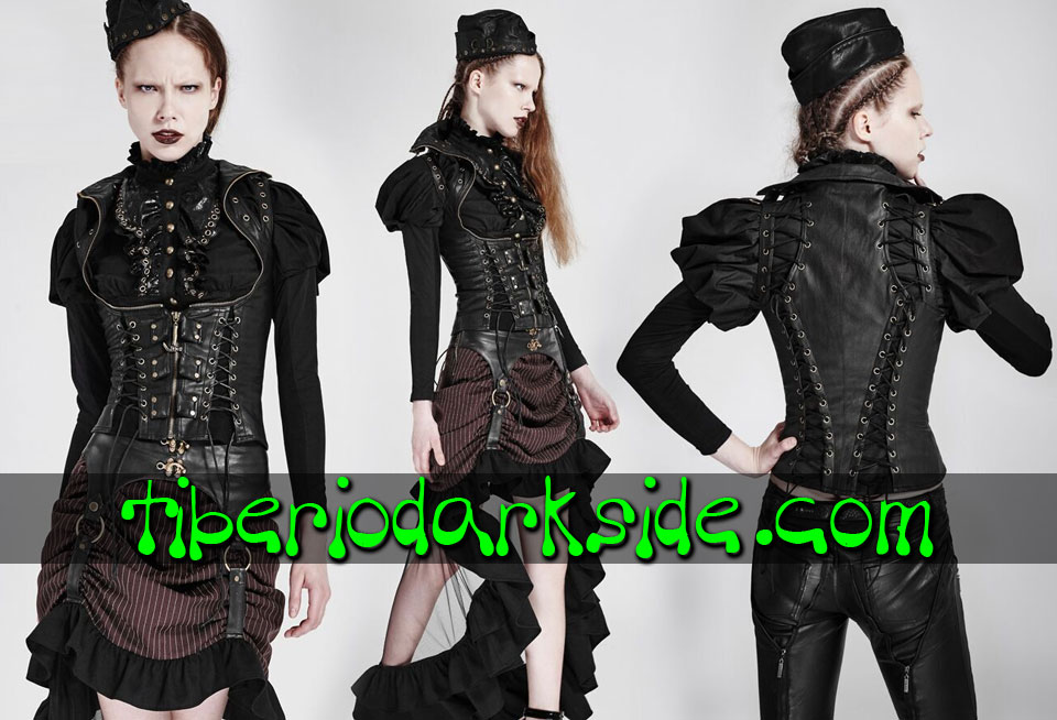 STEAMPUNK - Corsets PUNK RAVE Valkyrie Black Synthetic Leather Steampunk Vest Corset