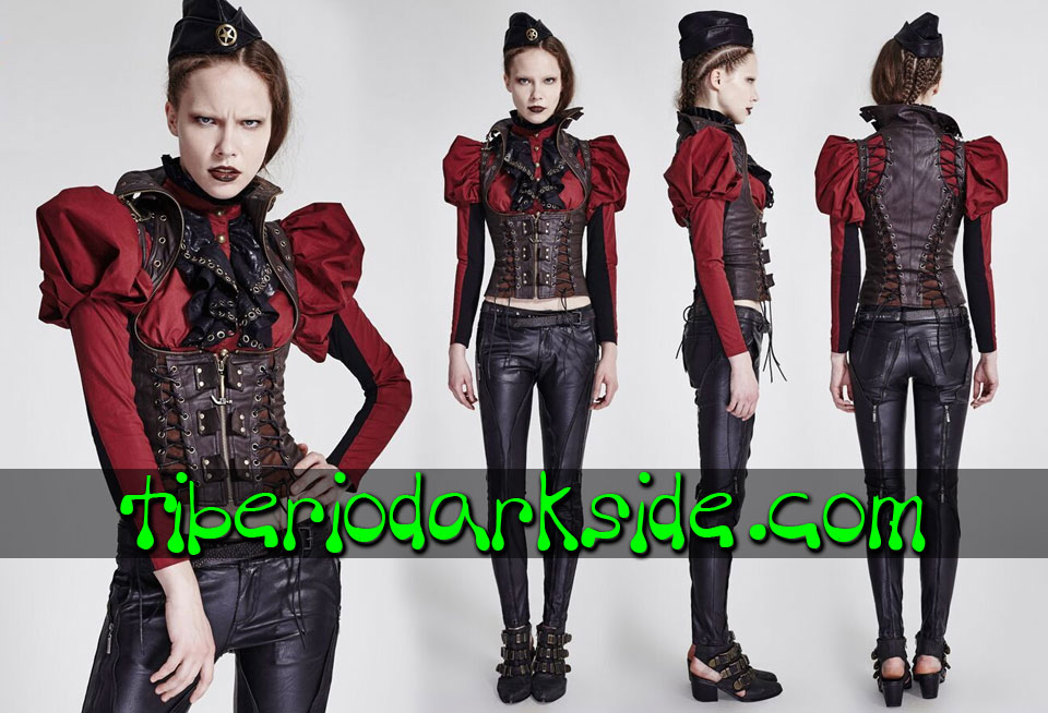 STEAMPUNK - Corsets PUNK RAVE Valkyrie Brown Synthetic Leather Steampunk Vest Corset