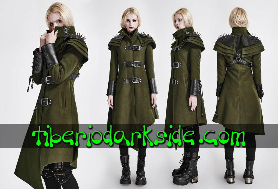 POST APOCALYPTIC - Outwear PUNK RAVE Green Military Post Apocalyptic Coat