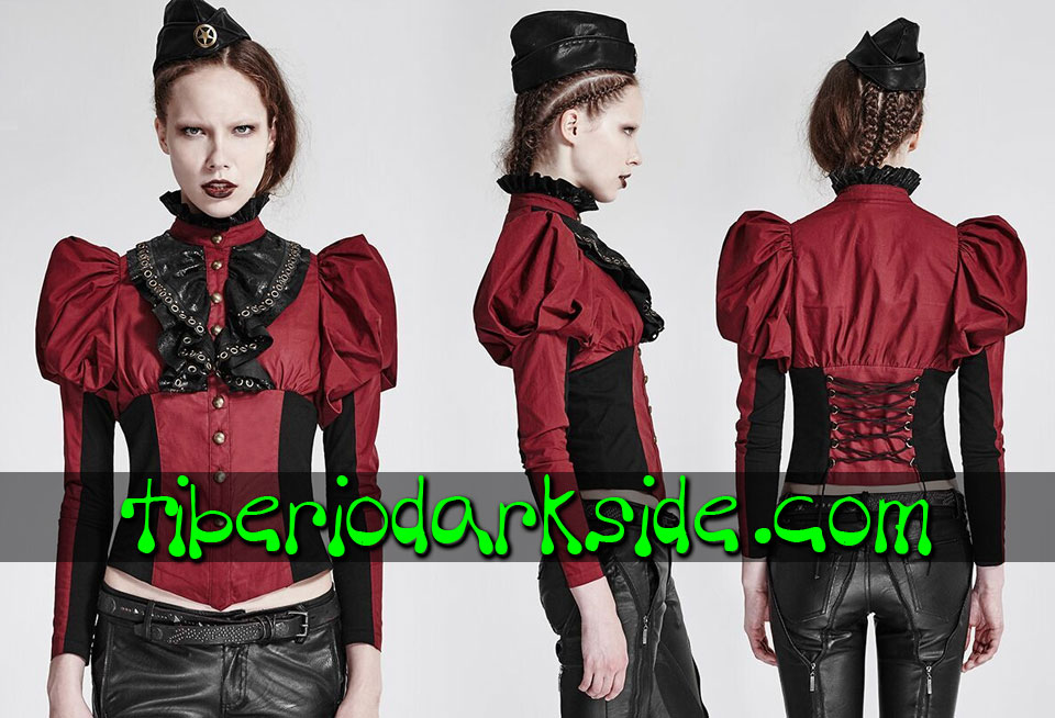 STEAMPUNK - Shirts PUNK RAVE Red Victorian Steampunk Shirt