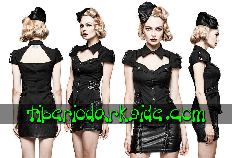 MILITARY GOTH - Camisas y Tops PUNK RAVE Camisa Militar Pin Up Negro