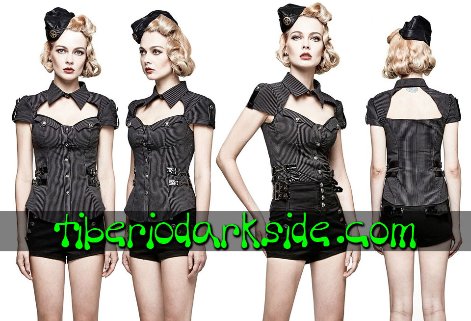 MILITARY GOTH - Camisas y Tops PUNK RAVE Camisa Militar Pin Up Raya Diplomatica