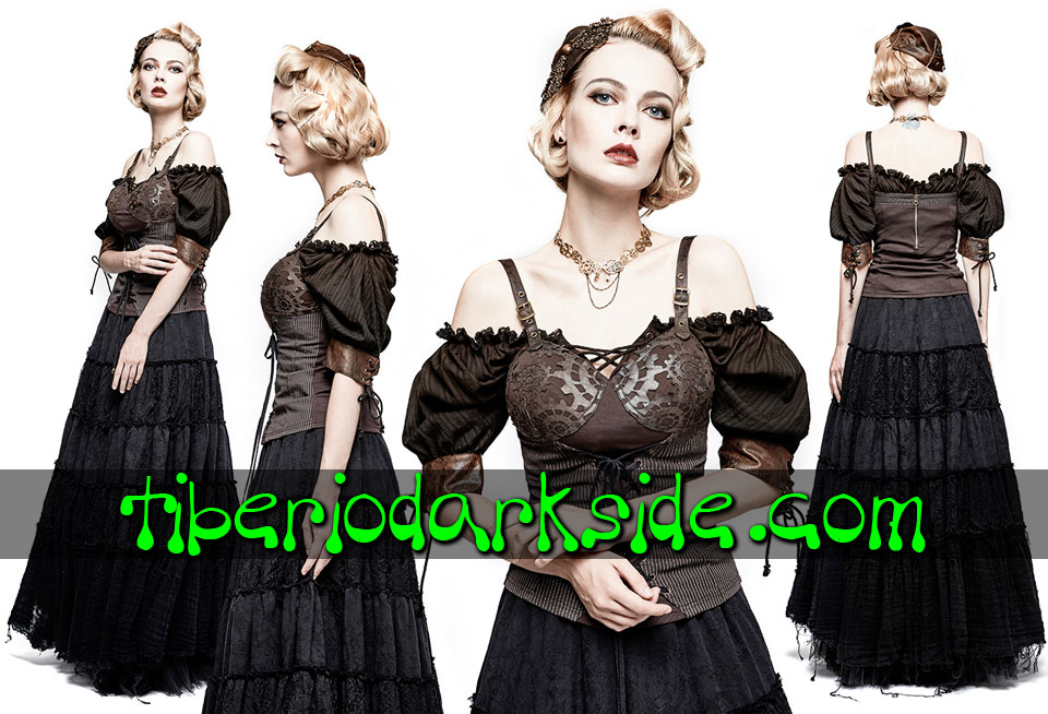 Tops - Sin Mangas PUNK RAVE Top Steampunk Engranajes Troquelados
