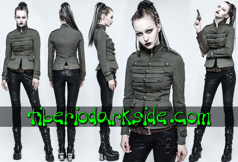 CORPORATE & MILITARY GOTH - Ropa de Abrigo PUNK RAVE Chaqueta Militar Uniforme Caqui