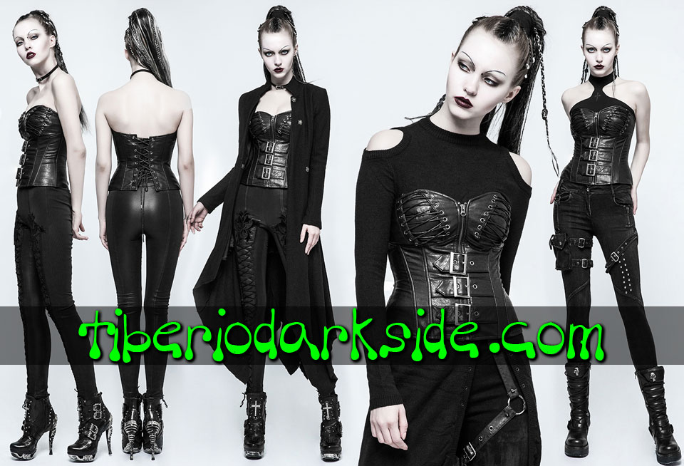 POST APOCALYPTIC & CYBER GOTH - Tops PUNK RAVE Corse Overbust Post Apocaliptico Piel Sintetica