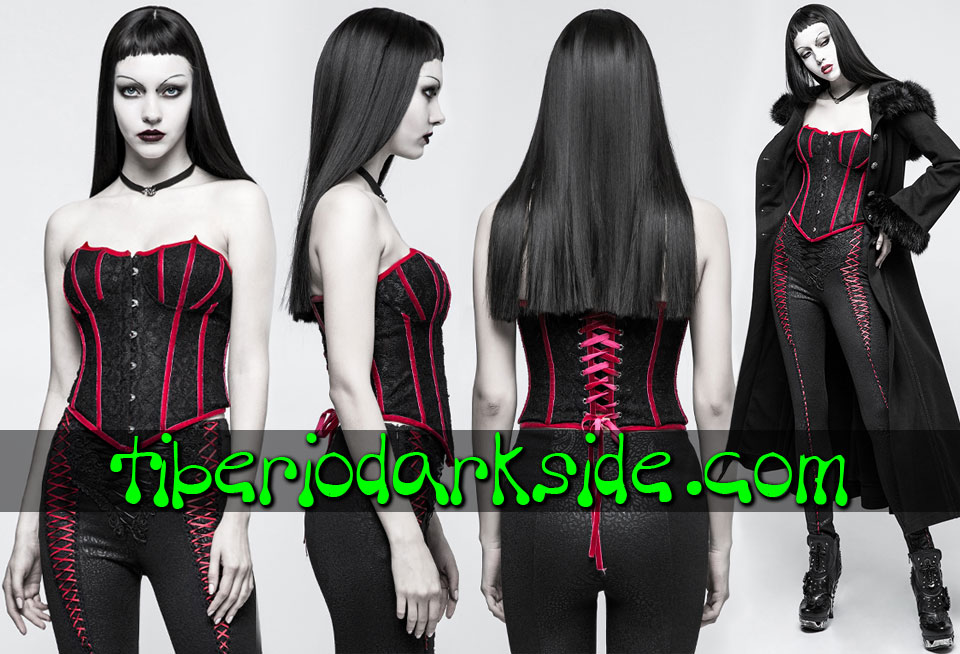 - VICTORIAN GOTH PUNK RAVE Red Vampiress Gothic Overbust Corset