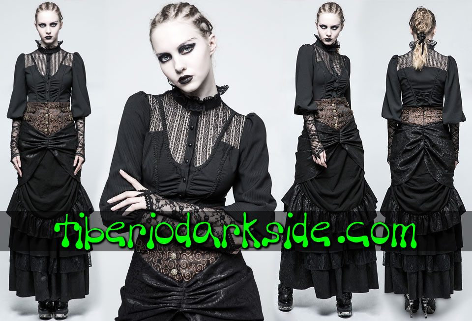 - VICTORIAN GOTH PUNK RAVE Black Lace Chest Victorian Shirt