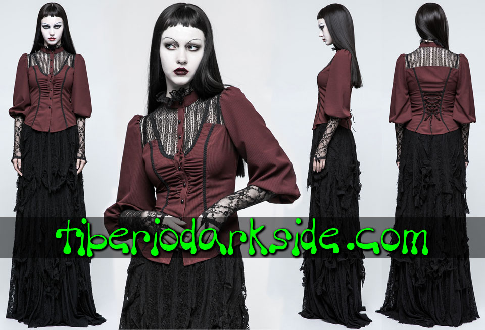 - VICTORIAN GOTH PUNK RAVE Red Lace Chest Victorian Shirt