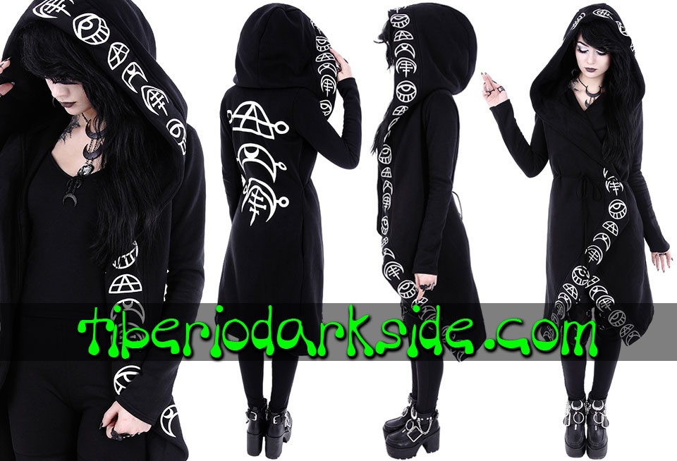 RESTYLE - Outwear RESTYLE All Seeing Moon Nu Goth Long Hoodie