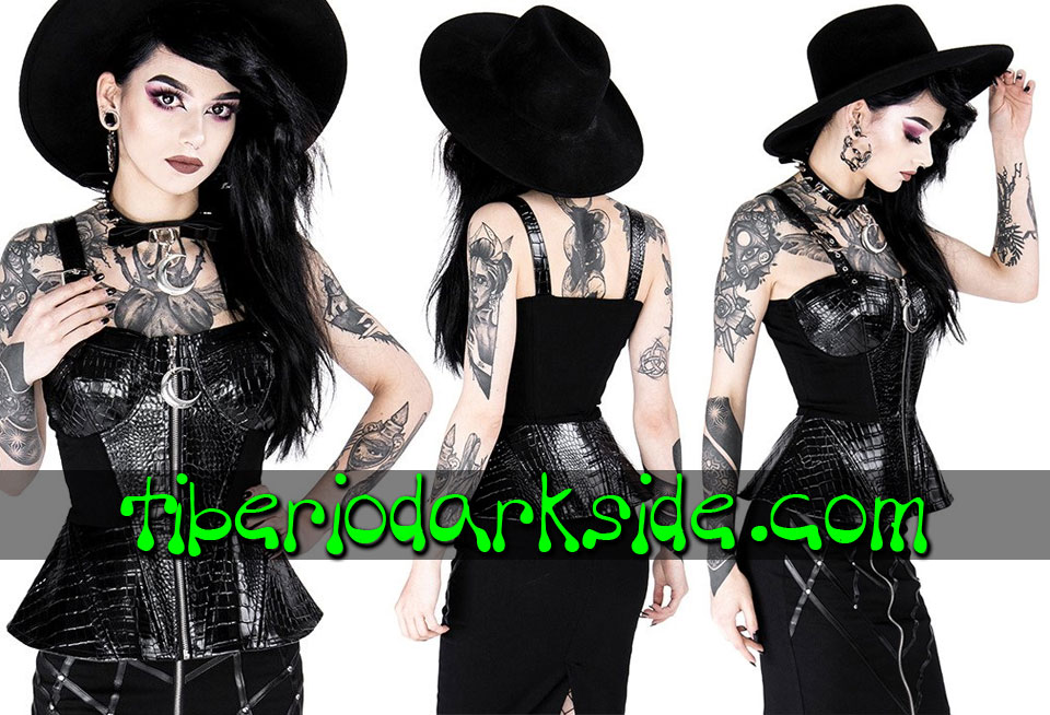 RESTYLE - Shirts & Tops RESTYLE Alligator Moon Peplum Nu Goth Top