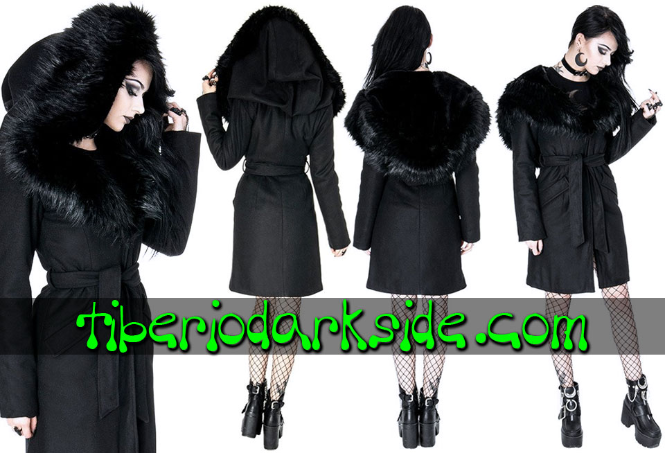 RESTYLE - Outwear RESTYLE Arcanum Fur Nu Goth Hooded Coat