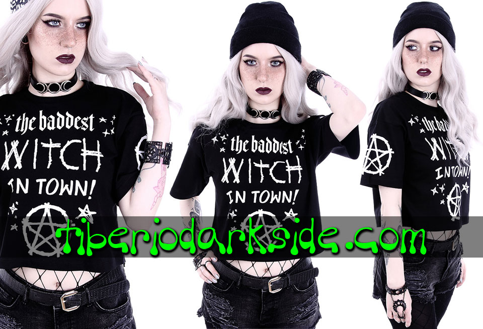 NU GOTH - Camisetas RESTYLE Camiseta Corta The Baddest Witch in Town