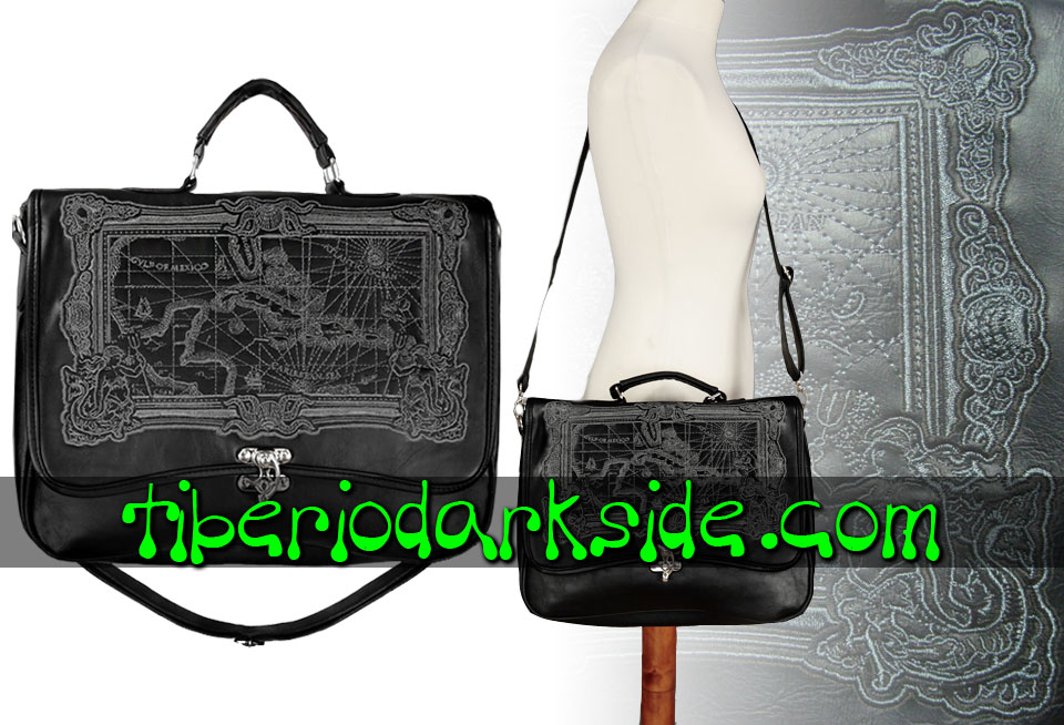 STEAMPUNK - Bags RESTYLE Black Map Steampunk Messenger Bag