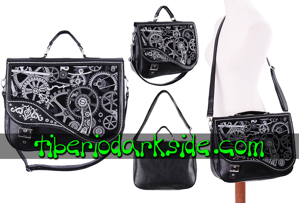 RESTYLE - Bolsos RESTYLE Cartera Steampunk Mecanismo Negro