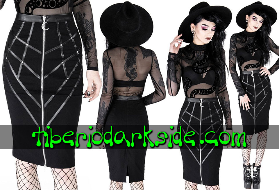 RESTYLE - Skirts RESTYLE Bonded to The Moon Nu Goth Pencil Skirt