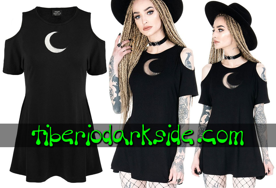 RESTYLE - T-Shirts RESTYLE Crescent Moon Mesh Tunic Cold Shoulder T-Shirt