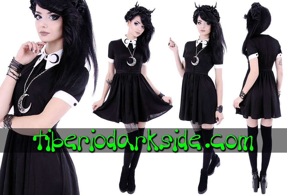 Dresses - Short - Short Sleeve RESTYLE Crescent Moon Nu Goth Dress