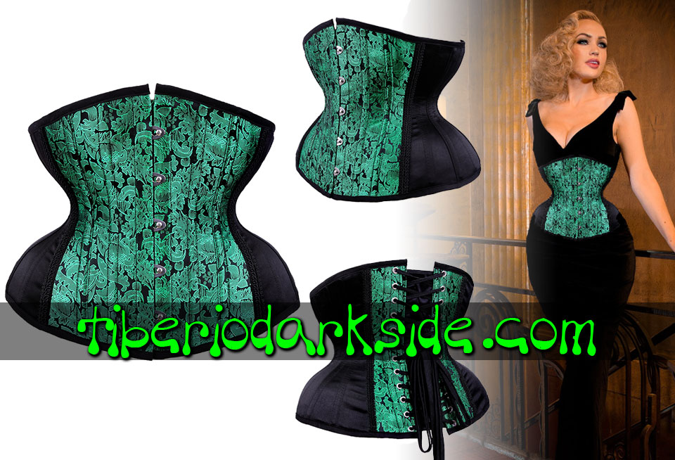 - VICTORIAN GOTH RESTYLE Green Brocade Curved Underbust Corset