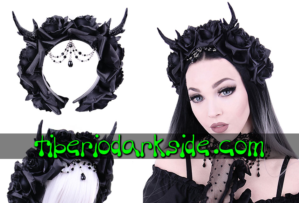 WITCHY & NU GOTH - Accessories RESTYLE Deer Antlers Black Roses Beads Hairband