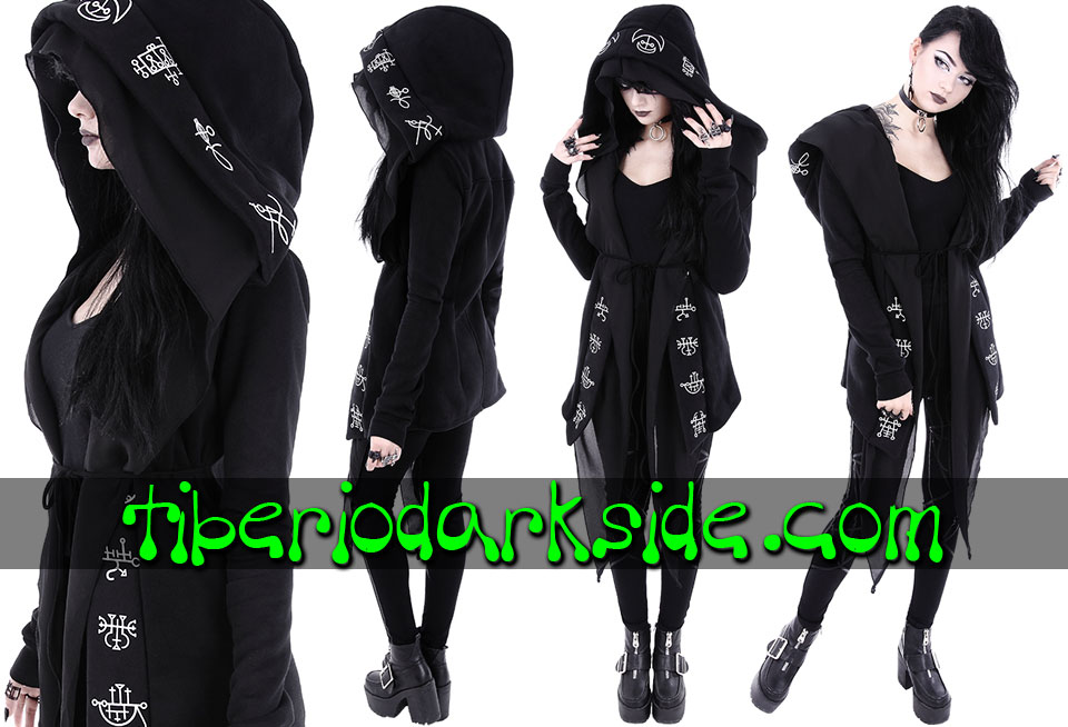 WITCHY & NU GOTH - Outwear RESTYLE Demon Sigil Nu Goth Long Hoodie