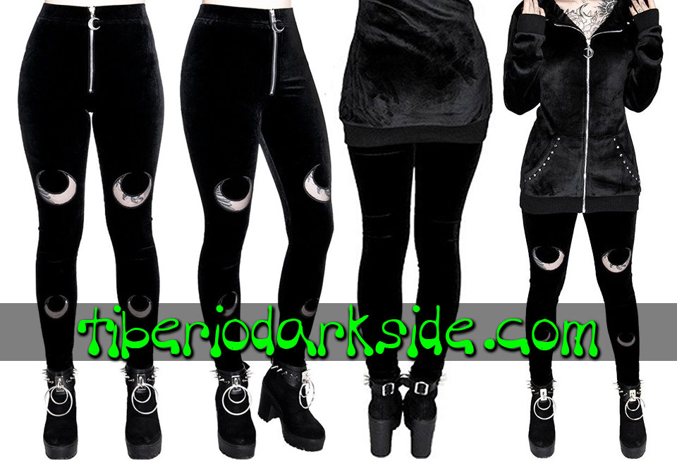 WITCHY & NU GOTH - Leggings RESTYLE Leggings Nu Goth Doble Luna Terciopelo