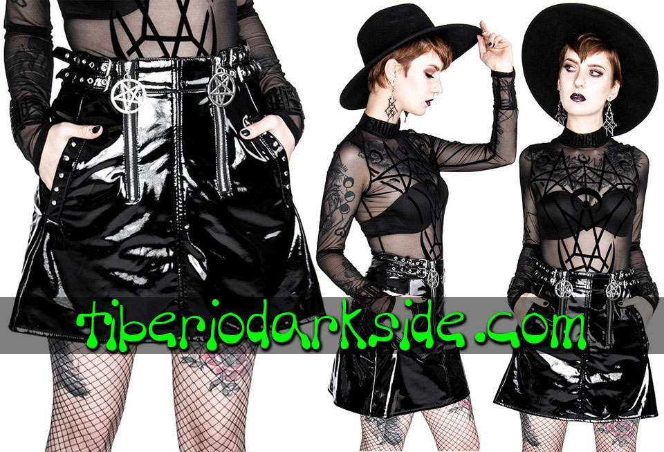 RESTYLE - Skirts RESTYLE Double Pentagram Vinyl Nu Goth Skirt