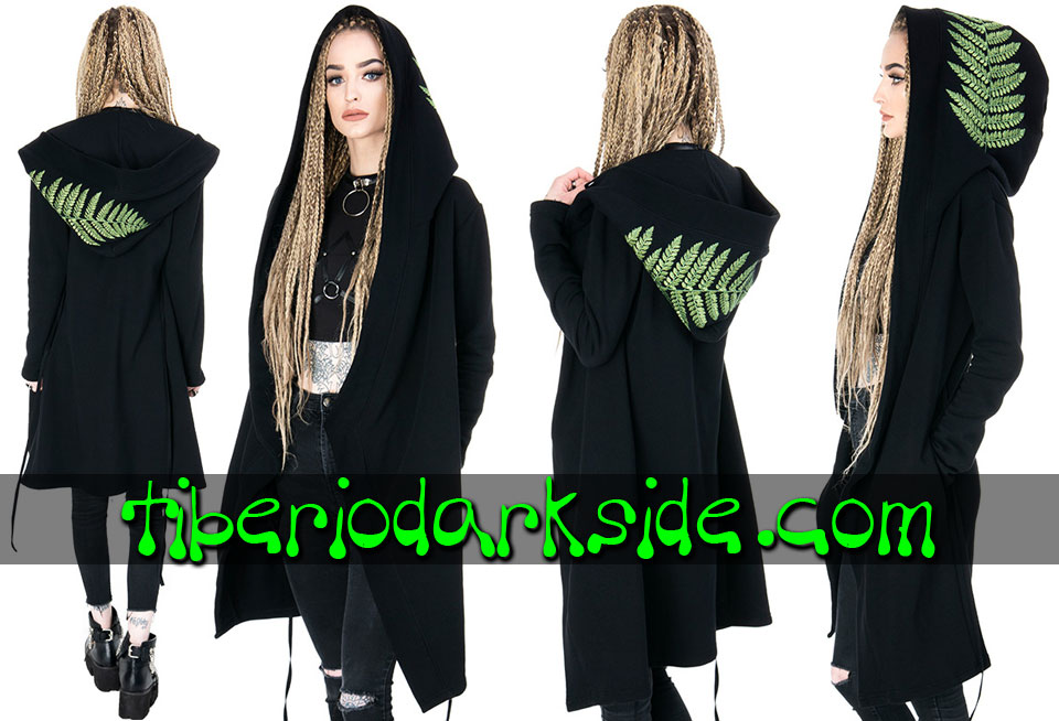 RESTYLE - Outwear RESTYLE Forest Fern Nu Goth Long Hoodie