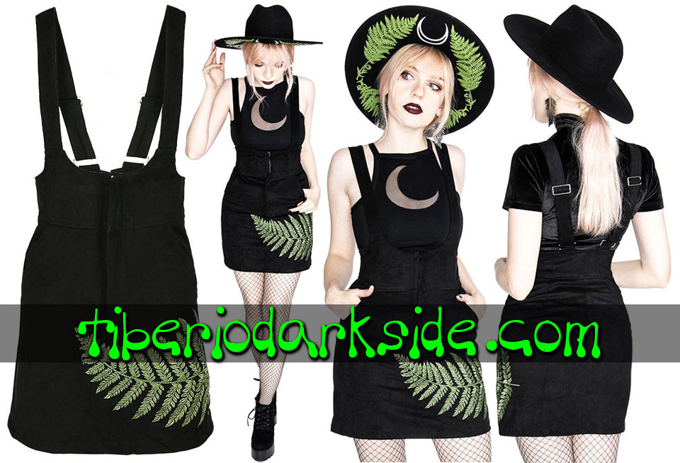 Skirts - Short RESTYLE Forest Fern Witchy Goth Suspender Skirt