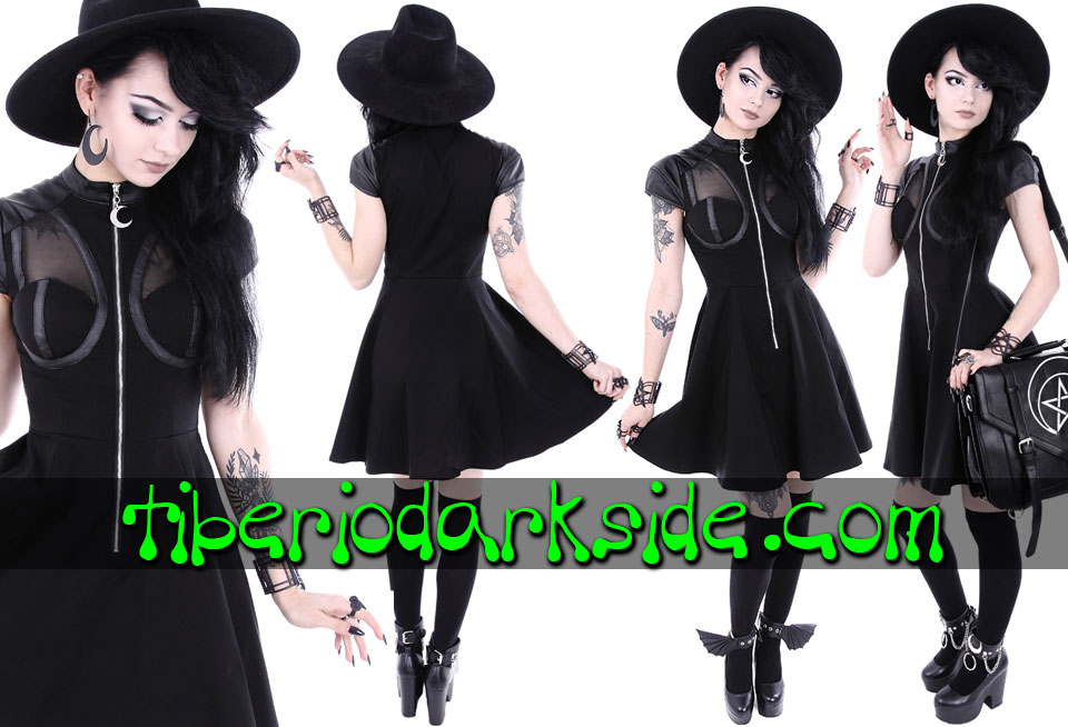 Dresses - Short - Short Sleeve RESTYLE Future Moon Nu Goth Dress