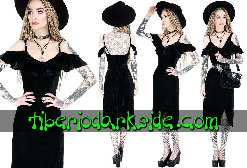 Dresses - Short - Short Sleeve RESTYLE Gloria Velvet Boho Goth Dress