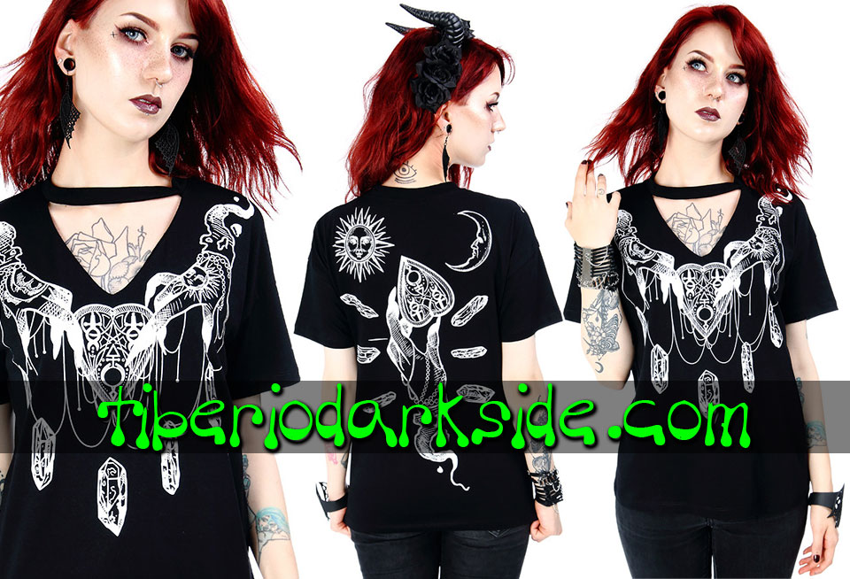 RESTYLE - Camisetas RESTYLE Camiseta Cuello V Haunted