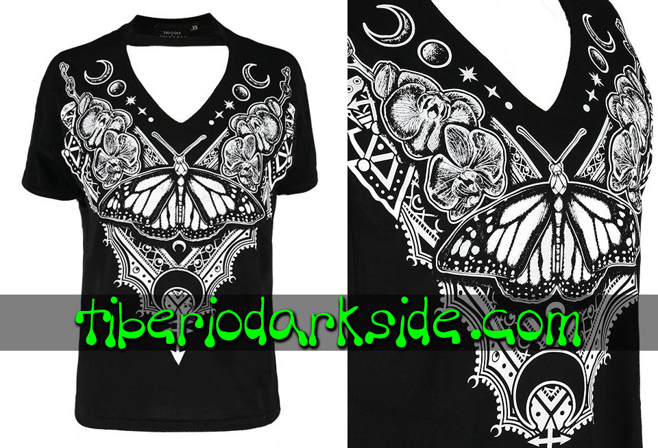 WITCHY & NU GOTH - Camisetas RESTYLE Camiseta Cuello V Henna Butterly