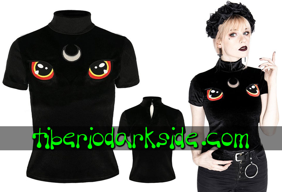 RESTYLE - Shirts & Tops RESTYLE I See You Cat Embroidered Velvet Nu Goth Top