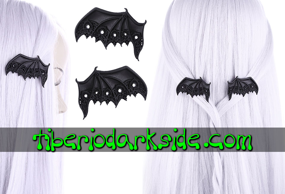 WITCHY & NU GOTH - Accessories RESTYLE Lace Bat Wings Hair Clips