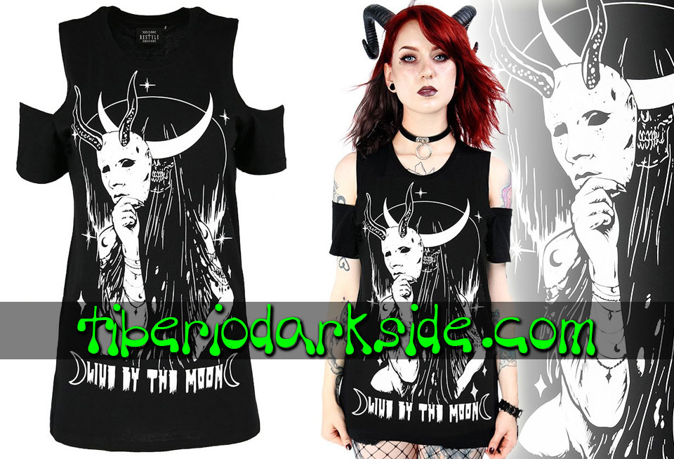 RESTYLE - Camisetas RESTYLE Camiseta Hombros Live By The Moon