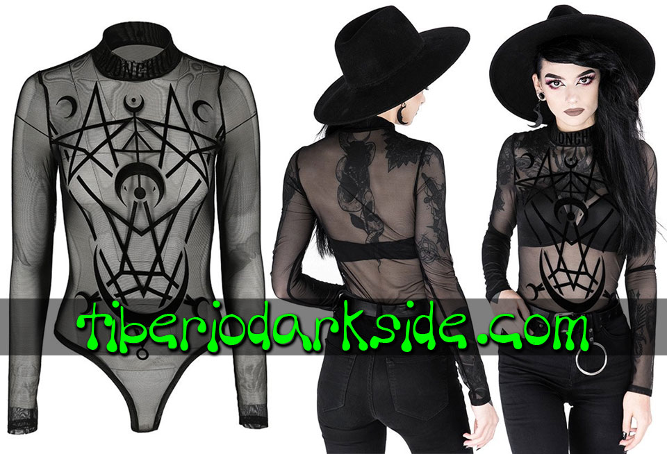RESTYLE - Shirts & Tops RESTYLE Moon Child Flocking Mesh Nu Goth Body