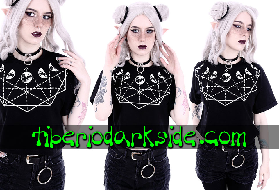 RESTYLE - T-Shirts RESTYLE Moon Geometry Crop T-Shirt