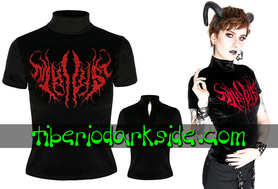 RESTYLE - Shirts & Tops RESTYLE Nihilist Embroidered Velvet Nu Goth Top