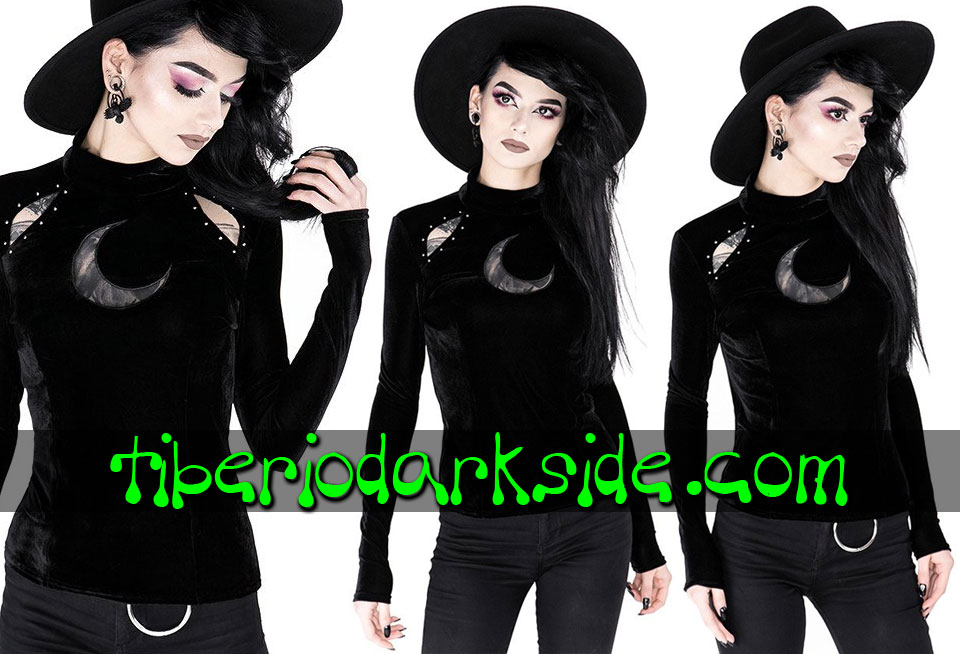 RESTYLE - Shirts & Tops RESTYLE Over The Moon Velvet Nu Goth Top