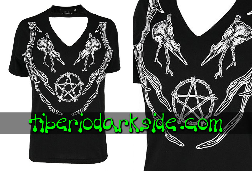 WITCHY & NU GOTH - Camisetas RESTYLE Camiseta Cuello V Pagan Antlers