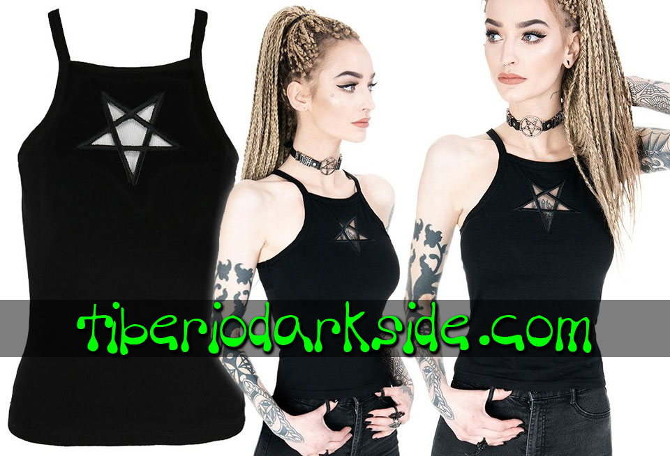 RESTYLE - Shirts & Tops RESTYLE Inverted Pentagram Mesh Nu Goth Strap Top