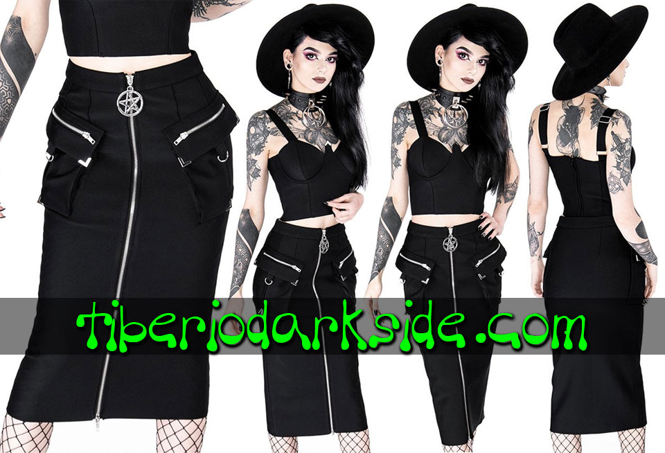 RESTYLE - Skirts RESTYLE Pentagram Utility Nu Goth Pencil Skirt
