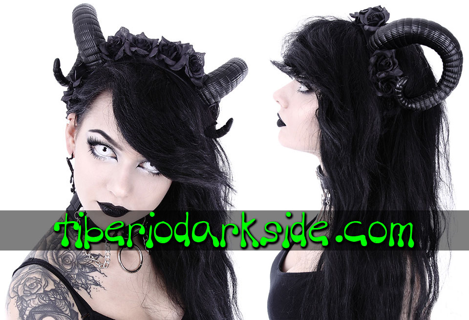WITCHY & NU GOTH - Accessories RESTYLE Ram Horns Black Roses Headband