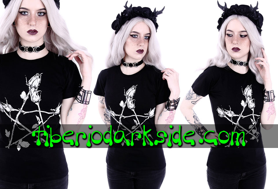 WITCHY & NU GOTH - T-Shirts RESTYLE Rose Pentagram Fitted T-Shirt