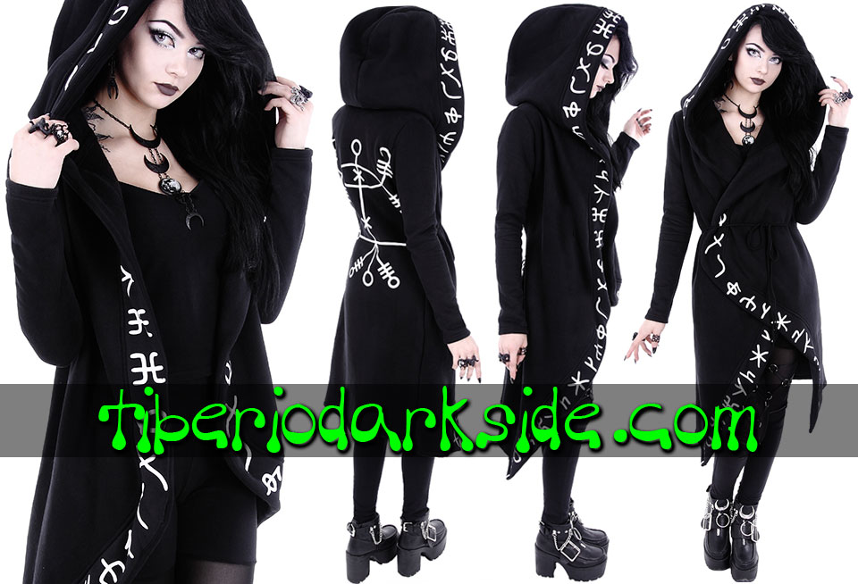 RESTYLE - Outwear RESTYLE Viking Runes Nu Goth Long Hoodie
