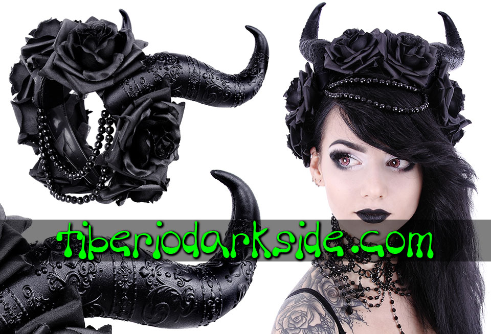 WITCHY & NU GOTH - Accessories RESTYLE Satan Horns Black Roses Beads Headband