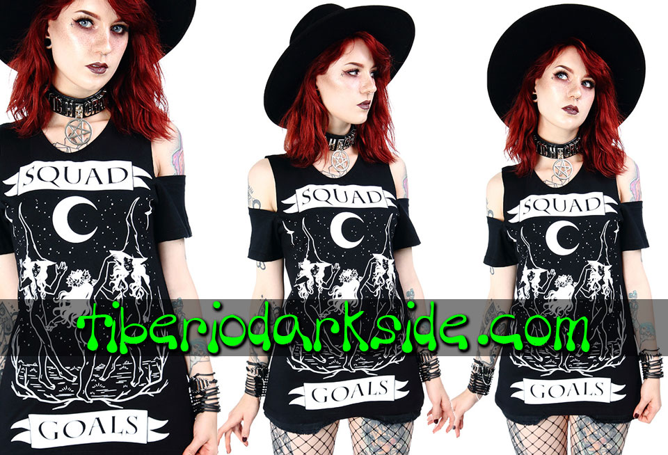 WITCHY & NU GOTH - T-Shirts RESTYLE Squad Goals Cold Shoulder T-Shirt
