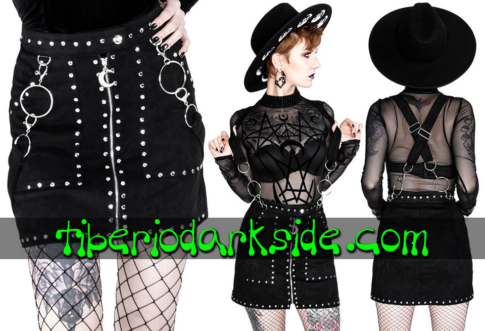 RESTYLE - Skirts RESTYLE Studded Suede Nu Goth Suspender Skirt