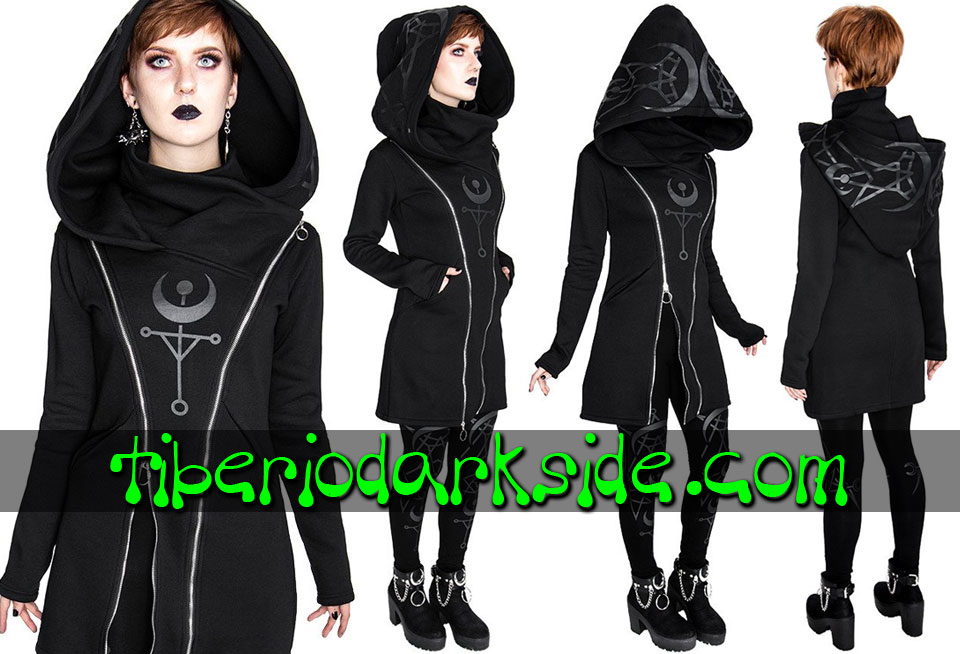 RESTYLE - Outwear RESTYLE Twin Moon Nu Goth Long Hoodie